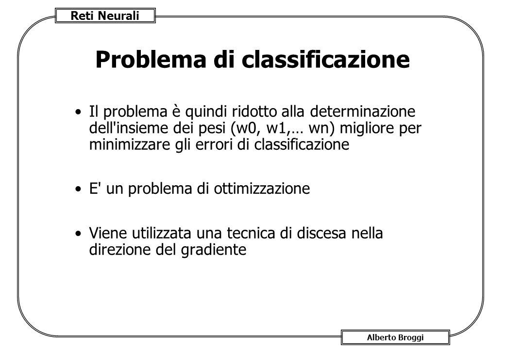 Reti Neurali Alberto Broggi Problema di classificazione Il problema è quindi ridotto alla determinazione dell insieme dei pesi (w0, w1,… wn) migliore per minimizzare gli errori di classificazione E un problema di ottimizzazione Viene utilizzata una tecnica di discesa nella direzione del gradiente