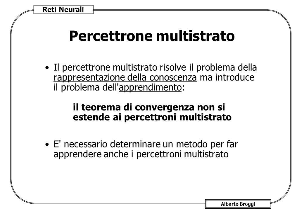 Reti Neurali Alberto Broggi Percettrone multistrato Il percettrone multistrato risolve il problema della rappresentazione della conoscenza ma introduce il problema dell apprendimento: il teorema di convergenza non si estende ai percettroni multistrato E necessario determinare un metodo per far apprendere anche i percettroni multistrato