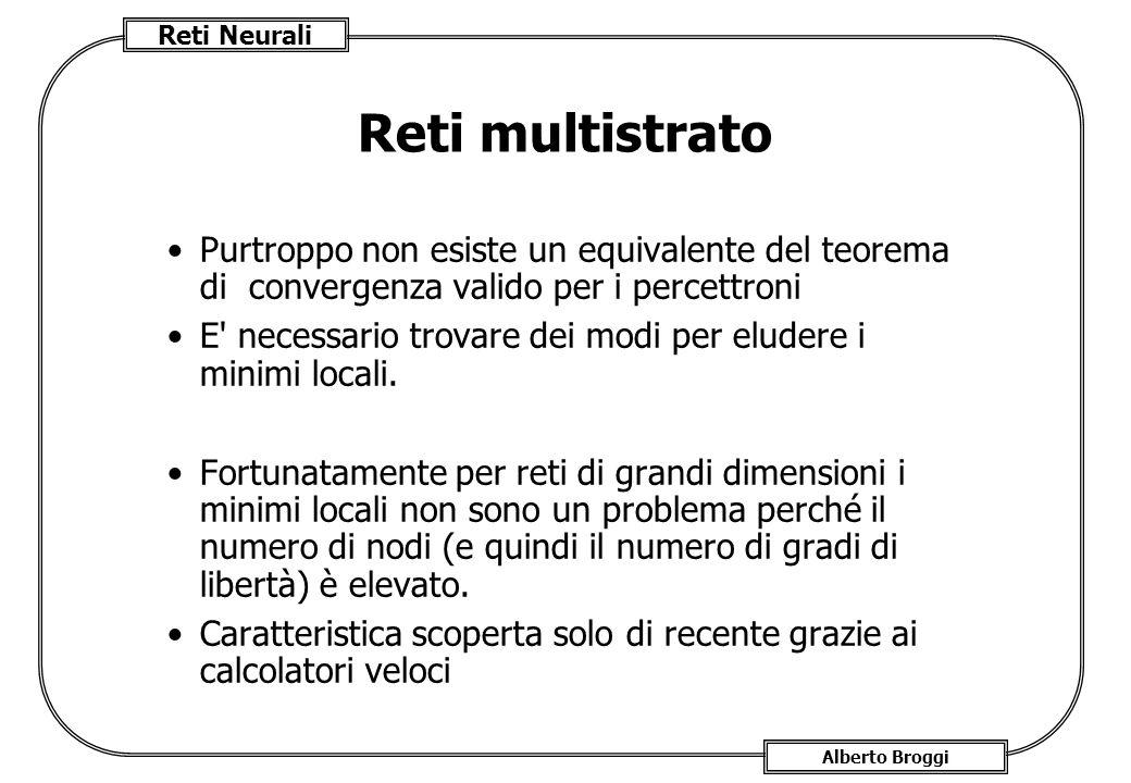 Reti Neurali Alberto Broggi Reti multistrato Purtroppo non esiste un equivalente del teorema di convergenza valido per i percettroni E necessario trovare dei modi per eludere i minimi locali.