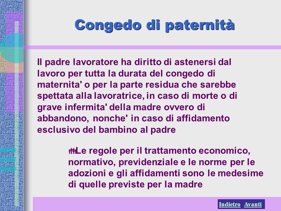 AvantiIndietro Congedo di paternità Il padre lavoratore ha diritto di astenersi dal lavoro per tutta la durata del congedo di maternita' o per la part