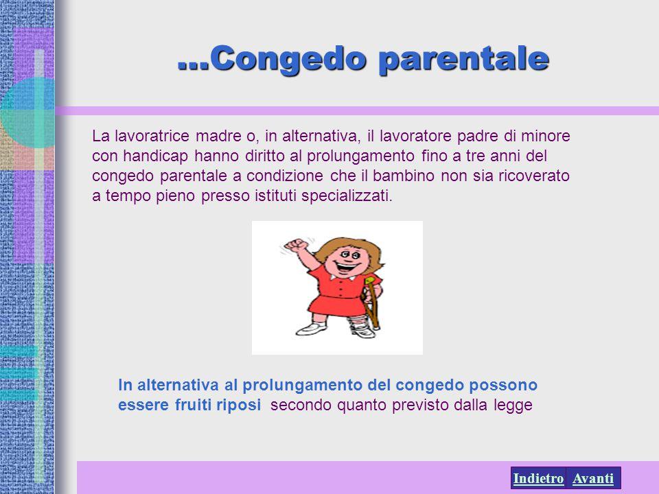 AvantiIndietro La lavoratrice madre o, in alternativa, il lavoratore padre di minore con handicap hanno diritto al prolungamento fino a tre anni del c