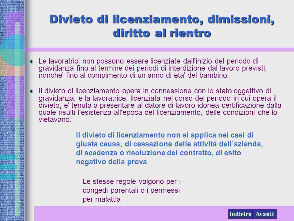 AvantiIndietro Le lavoratrici non possono essere licenziate dall'inizio del periodo di gravidanza fino al termine dei periodi di interdizione dal lavo