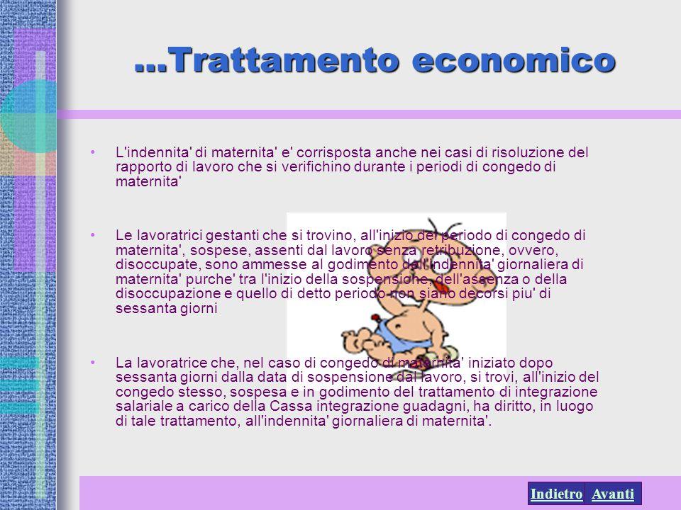 AvantiIndietro …Trattamento economico L'indennita' di maternita' e' corrisposta anche nei casi di risoluzione del rapporto di lavoro che si verifichin