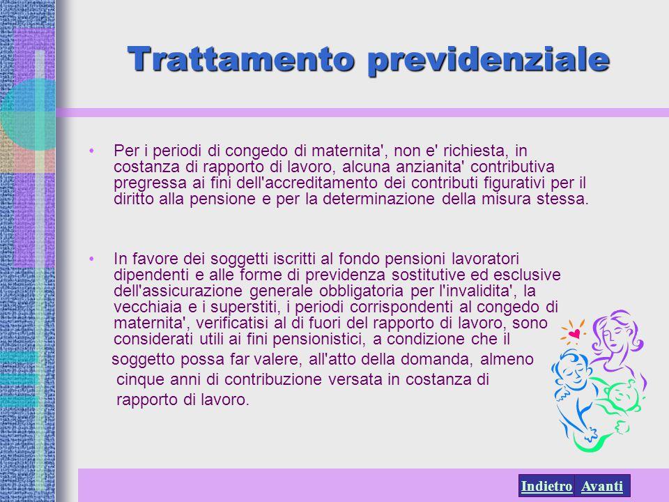 AvantiIndietro Trattamento previdenziale Per i periodi di congedo di maternita', non e' richiesta, in costanza di rapporto di lavoro, alcuna anzianita