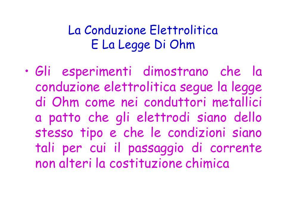 La Conduzione Elettrolitica E La Legge Di Ohm Gli esperimenti dimostrano che la conduzione elettrolitica segue la legge di Ohm come nei conduttori metallici a patto che gli elettrodi siano dello stesso tipo e che le condizioni siano tali per cui il passaggio di corrente non alteri la costituzione chimica