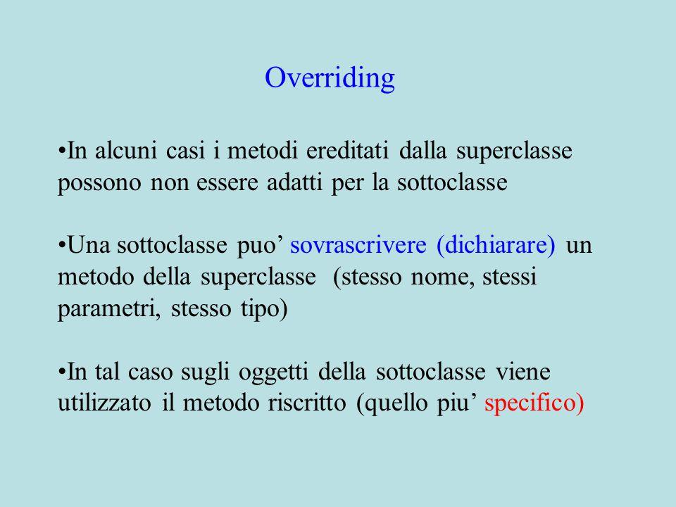 In alcuni casi i metodi ereditati dalla superclasse possono non essere adatti per la sottoclasse Una sottoclasse puo' sovrascrivere (dichiarare) un metodo della superclasse (stesso nome, stessi parametri, stesso tipo) In tal caso sugli oggetti della sottoclasse viene utilizzato il metodo riscritto (quello piu' specifico) Overriding