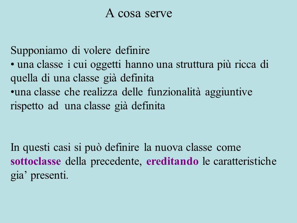 Supponiamo di avere definito una classe Persona gli oggetti della classe memorizzano il nome e l'indirizzo semplici operazioni definite tramite metodi d'istanza Esempio