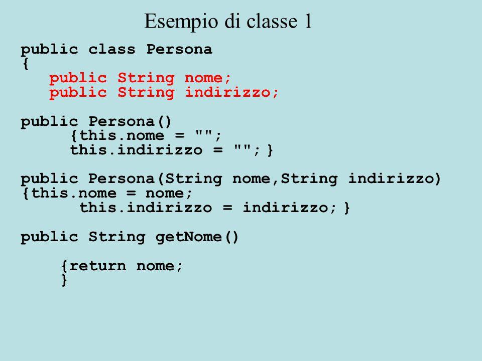 Problema II public Studente(String nome, String indirizzo) {this.nome = nome; this.indirizzo = indirizzo; this.matricola = nextMatricola; nextMatricola= nextMatricola+1; this.pianoDiStudio = ; }