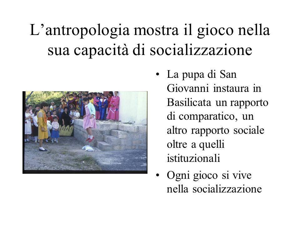 L'antropologia mostra il gioco nella sua capacità di socializzazione La pupa di San Giovanni instaura in Basilicata un rapporto di comparatico, un altro rapporto sociale oltre a quelli istituzionali Ogni gioco si vive nella socializzazione