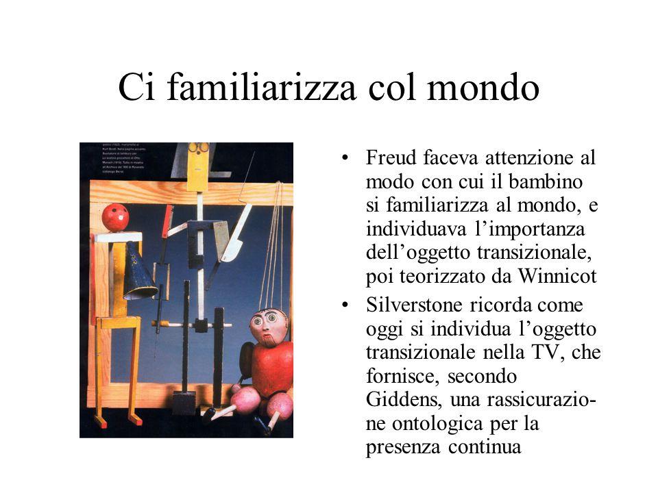 Ci familiarizza col mondo Freud faceva attenzione al modo con cui il bambino si familiarizza al mondo, e individuava l'importanza dell'oggetto transizionale, poi teorizzato da Winnicot Silverstone ricorda come oggi si individua l'oggetto transizionale nella TV, che fornisce, secondo Giddens, una rassicurazio- ne ontologica per la presenza continua
