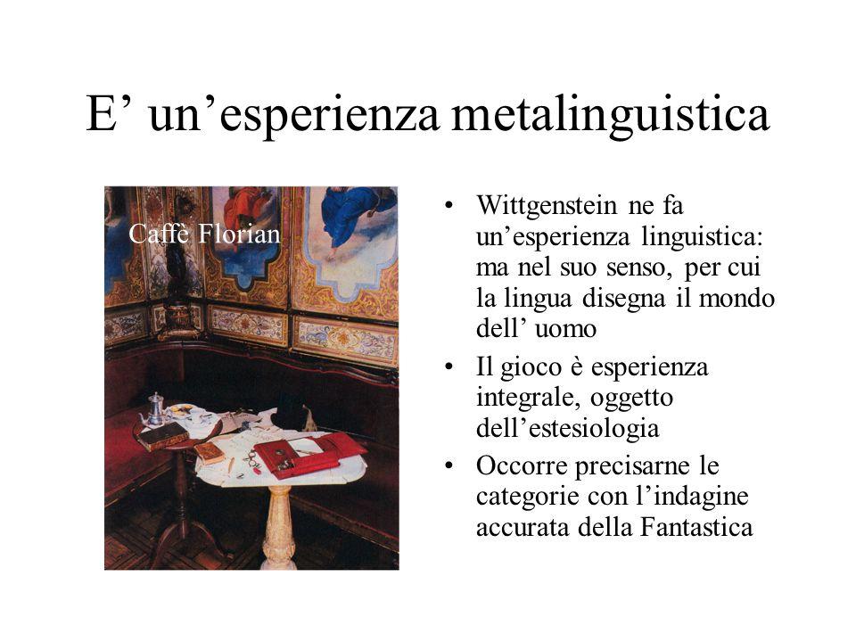 E' un'esperienza metalinguistica Wittgenstein ne fa un'esperienza linguistica: ma nel suo senso, per cui la lingua disegna il mondo dell' uomo Il gioco è esperienza integrale, oggetto dell'estesiologia Occorre precisarne le categorie con l'indagine accurata della Fantastica Caffè Florian