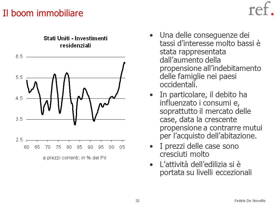 Fedele De Novellis 32 Il boom immobiliare Una delle conseguenze dei tassi d'interesse molto bassi è stata rappresentata dall'aumento della propensione all'indebitamento delle famiglie nei paesi occidentali.