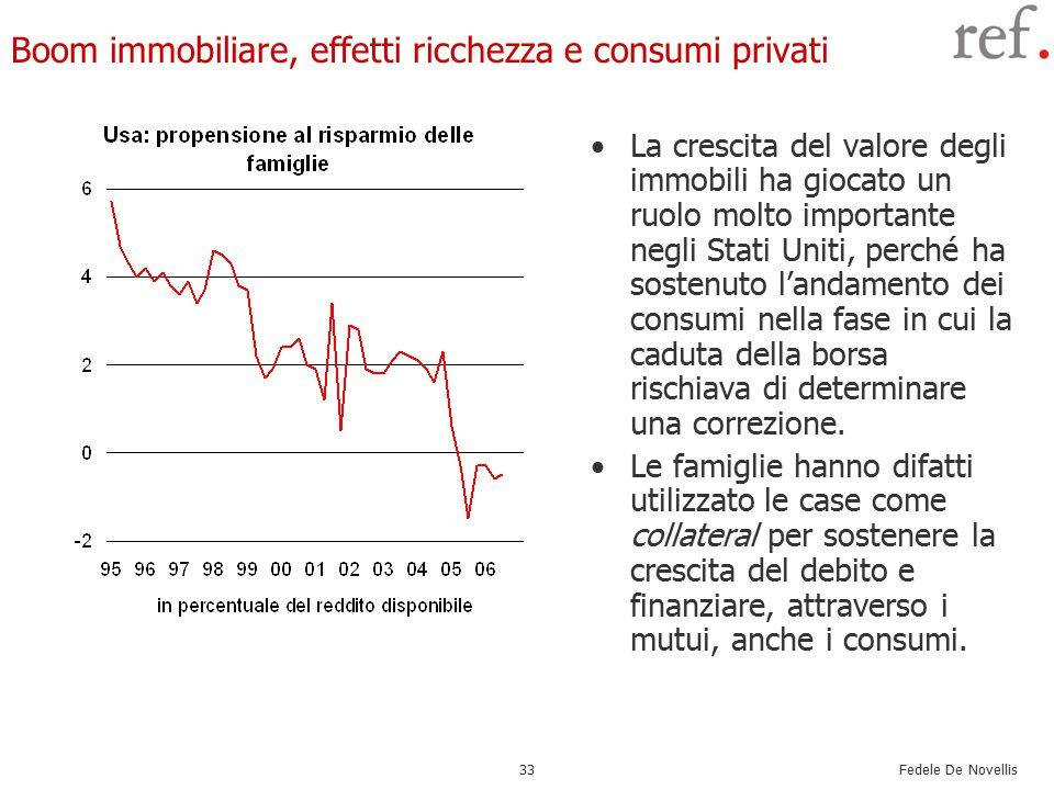 Fedele De Novellis 33 Boom immobiliare, effetti ricchezza e consumi privati La crescita del valore degli immobili ha giocato un ruolo molto importante negli Stati Uniti, perché ha sostenuto l'andamento dei consumi nella fase in cui la caduta della borsa rischiava di determinare una correzione.