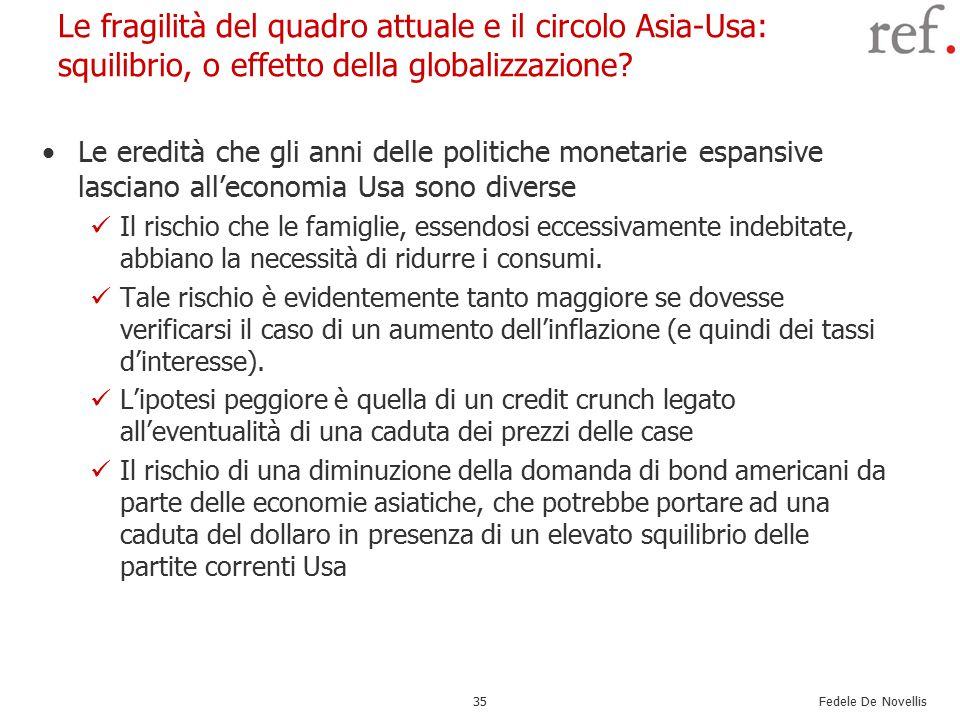 Fedele De Novellis 35 Le fragilità del quadro attuale e il circolo Asia-Usa: squilibrio, o effetto della globalizzazione.