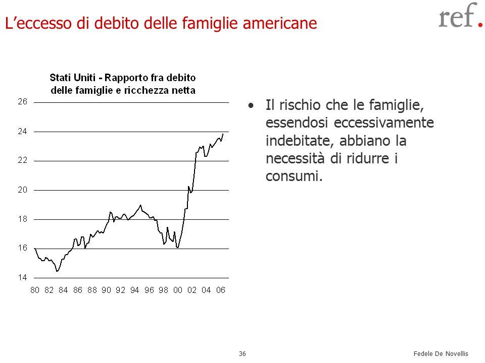 Fedele De Novellis 36 L'eccesso di debito delle famiglie americane Il rischio che le famiglie, essendosi eccessivamente indebitate, abbiano la necessità di ridurre i consumi.