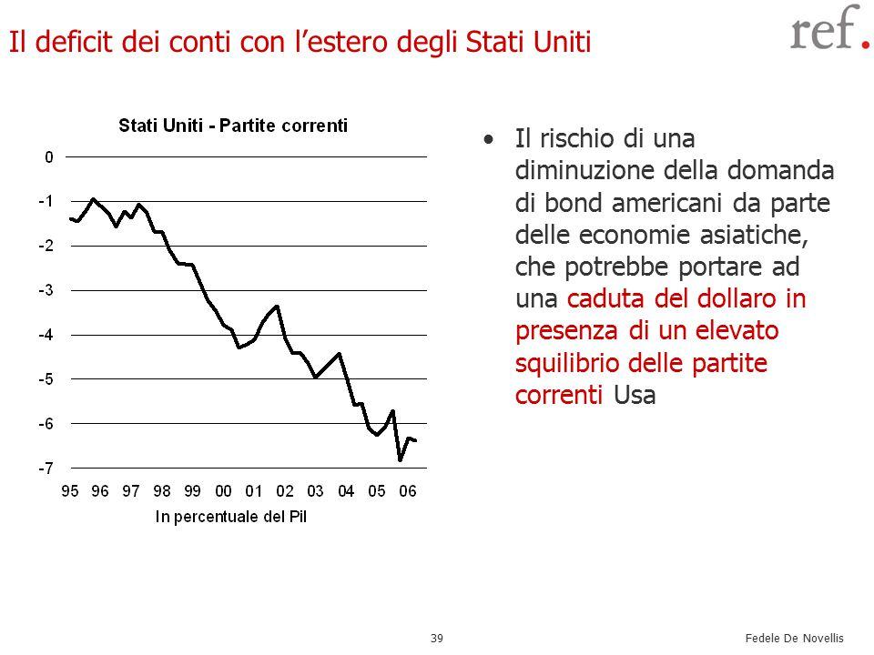 Fedele De Novellis 39 Il deficit dei conti con l'estero degli Stati Uniti Il rischio di una diminuzione della domanda di bond americani da parte delle economie asiatiche, che potrebbe portare ad una caduta del dollaro in presenza di un elevato squilibrio delle partite correnti Usa