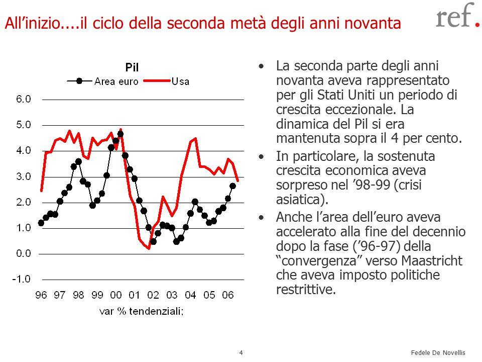 Fedele De Novellis 5 Il boom delle borse di fine anni '90 La sorpresa in termini di crescita più elevata del previsto aveva anche contribuito a sostenere e aspettative sulle prospettive economiche.