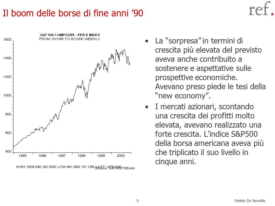 Fedele De Novellis 6 Dietro le attese dei mercati: il paradigma della new economy Le tesi della new economy si basavano sull'idea che fosse in corso un salto tecnologico (legato all'Information & Communication technology.