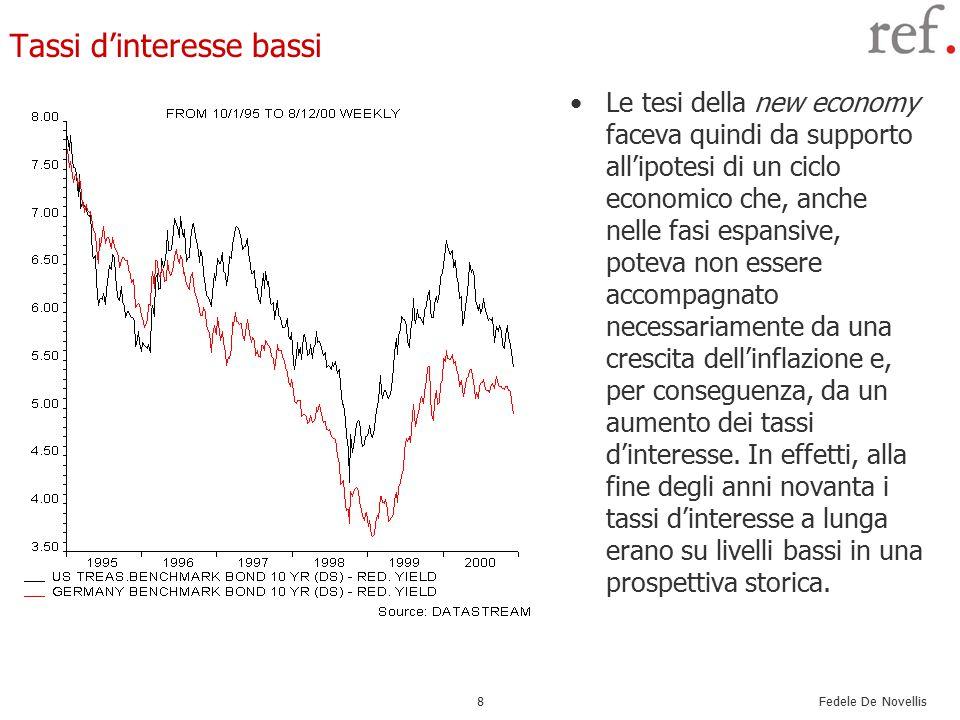 Fedele De Novellis 8 Tassi d'interesse bassi Le tesi della new economy faceva quindi da supporto all'ipotesi di un ciclo economico che, anche nelle fasi espansive, poteva non essere accompagnato necessariamente da una crescita dell'inflazione e, per conseguenza, da un aumento dei tassi d'interesse.