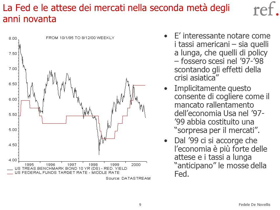 Fedele De Novellis 10 Lo sgonfiamento delle borse e l'inizio della recessione Alla tesi della new economy si sovrappone negli anni novanta quella della irrational exuberance L'idea è che sui mercati sia prevalso un eccessivo ottimismo sulla combinazione crescita futura/tassi d'interesse futuri.