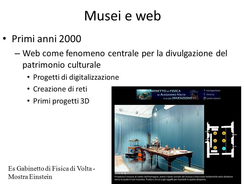 Musei e web Primi anni 2000 – Web come fenomeno centrale per la divulgazione del patrimonio culturale Progetti di digitalizzazione Creazione di reti Primi progetti 3D Es Gabinetto di Fisica di Volta - Mostra Einstein