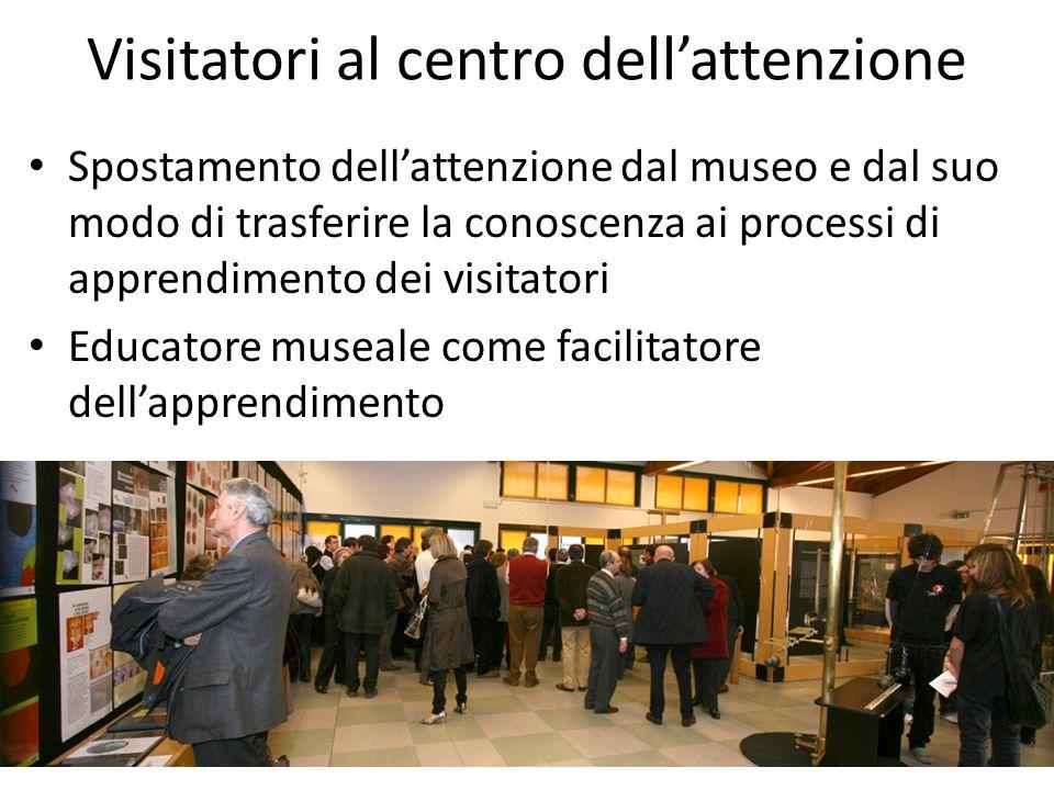 Visitatori al centro dell'attenzione Spostamento dell'attenzione dal museo e dal suo modo di trasferire la conoscenza ai processi di apprendimento dei visitatori Educatore museale come facilitatore dell'apprendimento