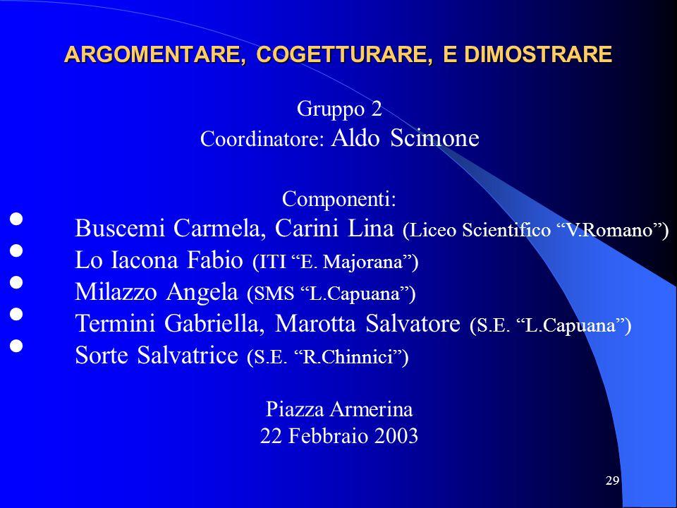 """29 ARGOMENTARE, COGETTURARE, E DIMOSTRARE Gruppo 2 Coordinatore: Aldo Scimone Componenti: Buscemi Carmela, Carini Lina (Liceo Scientifico """"V.Romano"""")"""