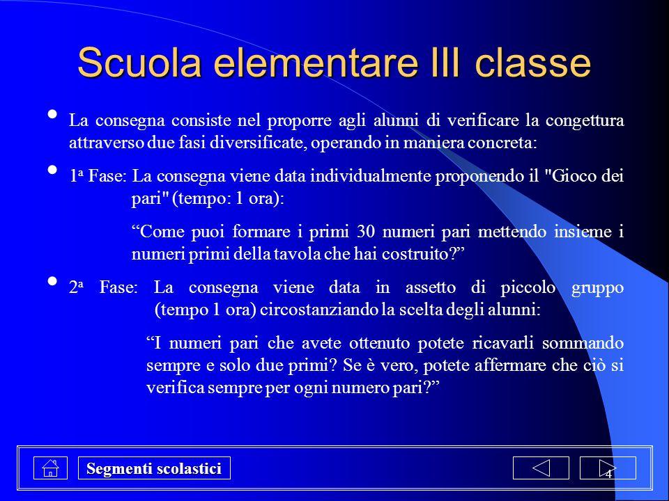 4 Scuola elementare III classe La consegna consiste nel proporre agli alunni di verificare la congettura attraverso due fasi diversificate, operando i