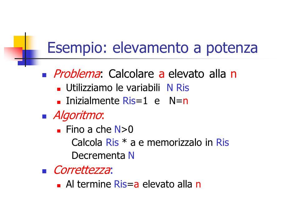 Esempio: elevamento a potenza Problema: Calcolare a elevato alla n Utilizziamo le variabili N Ris Inizialmente Ris=1 e N=n Algoritmo: Fino a che N>0 Calcola Ris * a e memorizzalo in Ris Decrementa N Correttezza: Al termine Ris=a elevato alla n
