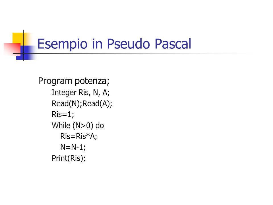 Esempio in Pseudo Pascal Program potenza; Integer Ris, N, A; Read(N);Read(A); Ris=1; While (N>0) do Ris=Ris*A; N=N-1; Print(Ris);