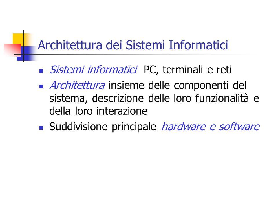Architettura dei Sistemi Informatici Sistemi informatici PC, terminali e reti Architettura insieme delle componenti del sistema, descrizione delle loro funzionalità e della loro interazione Suddivisione principale hardware e software