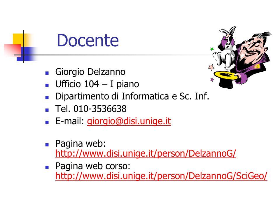 Docente Giorgio Delzanno Ufficio 104 – I piano Dipartimento di Informatica e Sc.