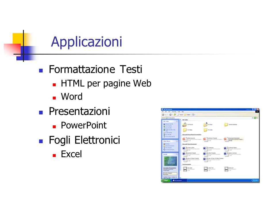 Applicazioni Formattazione Testi HTML per pagine Web Word Presentazioni PowerPoint Fogli Elettronici Excel