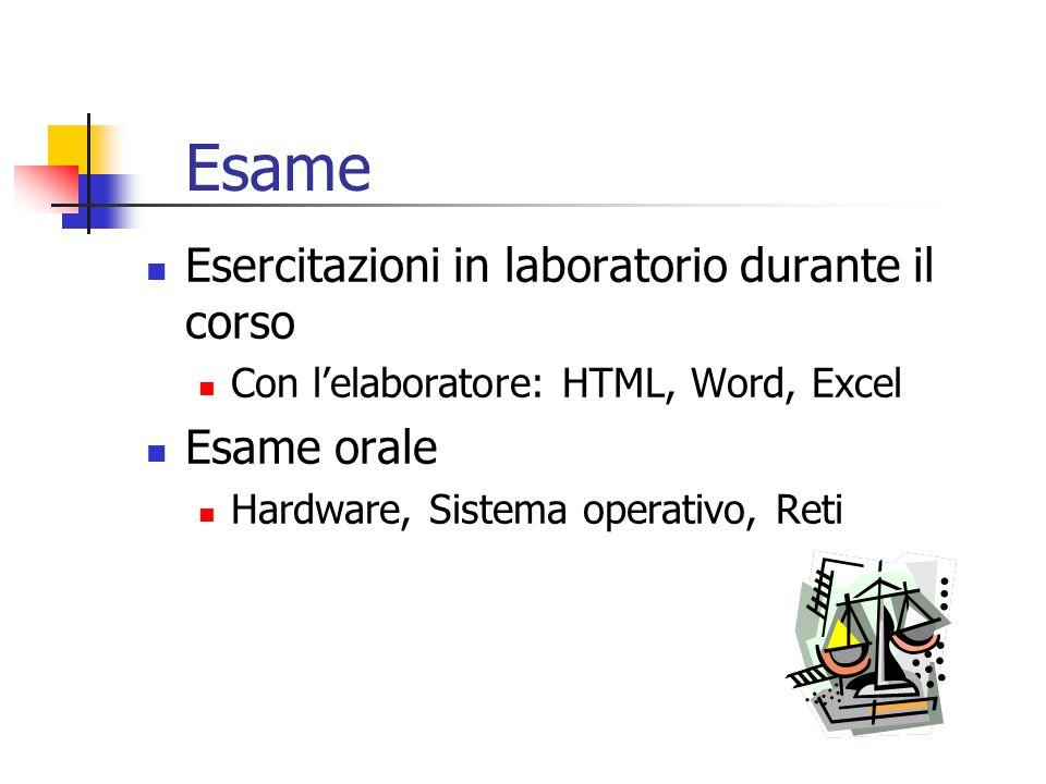 Esame Esercitazioni in laboratorio durante il corso Con l'elaboratore: HTML, Word, Excel Esame orale Hardware, Sistema operativo, Reti