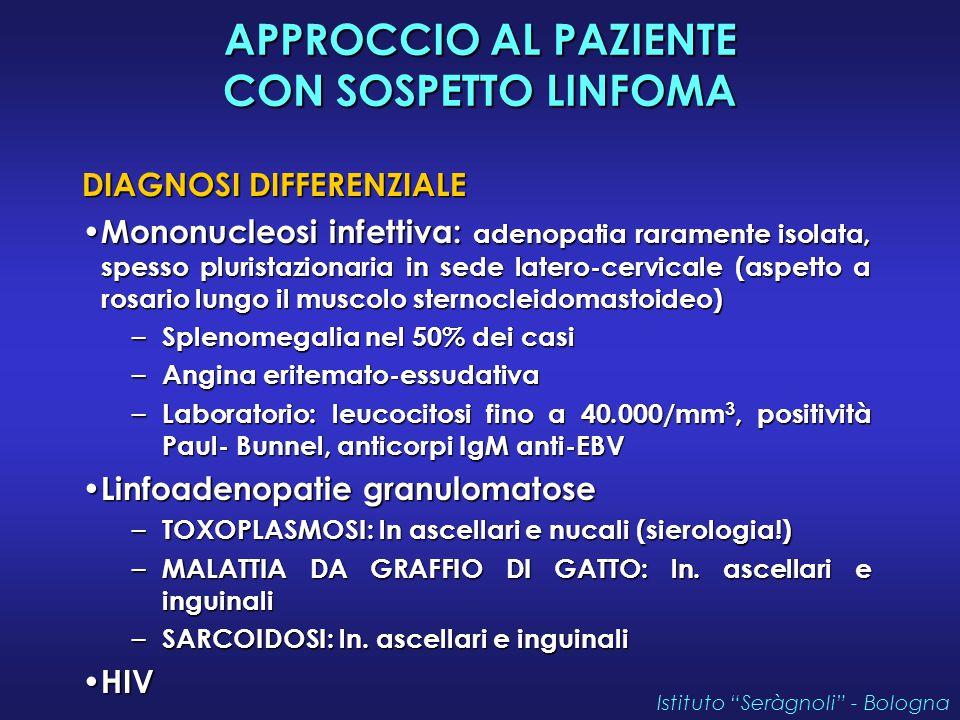 APPROCCIO AL PAZIENTE CON SOSPETTO LINFOMA DIAGNOSI DIFFERENZIALE Mononucleosi infettiva: adenopatia raramente isolata, spesso pluristazionaria in sed