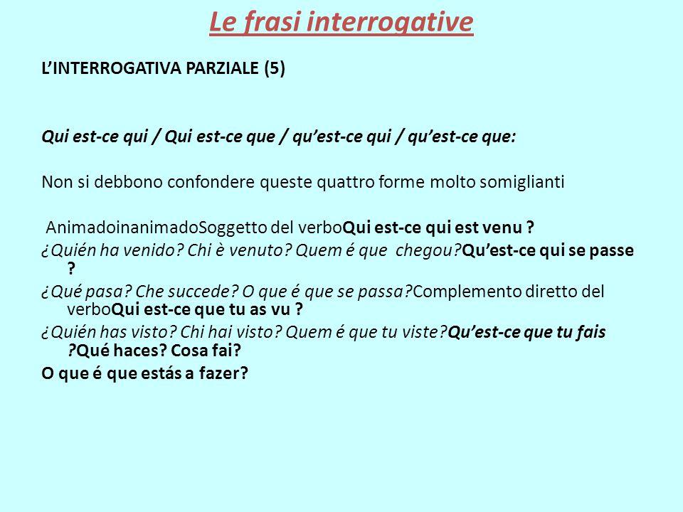 Le frasi interrogative L'INTERROGATIVA PARZIALE (5) Qui est-ce qui / Qui est-ce que / qu'est-ce qui / qu'est-ce que: Non si debbono confondere queste
