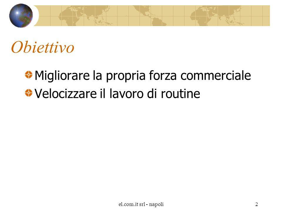 el.com.it srl - napoli2 Obiettivo Migliorare la propria forza commerciale Velocizzare il lavoro di routine