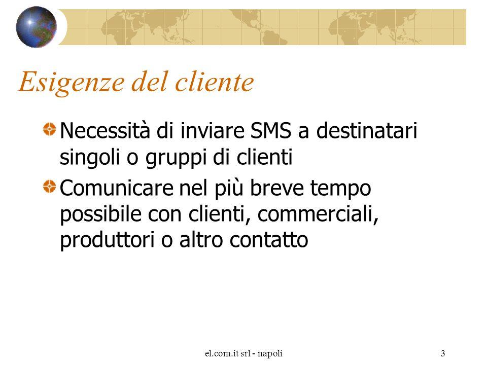 el.com.it srl - napoli3 Esigenze del cliente Necessità di inviare SMS a destinatari singoli o gruppi di clienti Comunicare nel più breve tempo possibile con clienti, commerciali, produttori o altro contatto