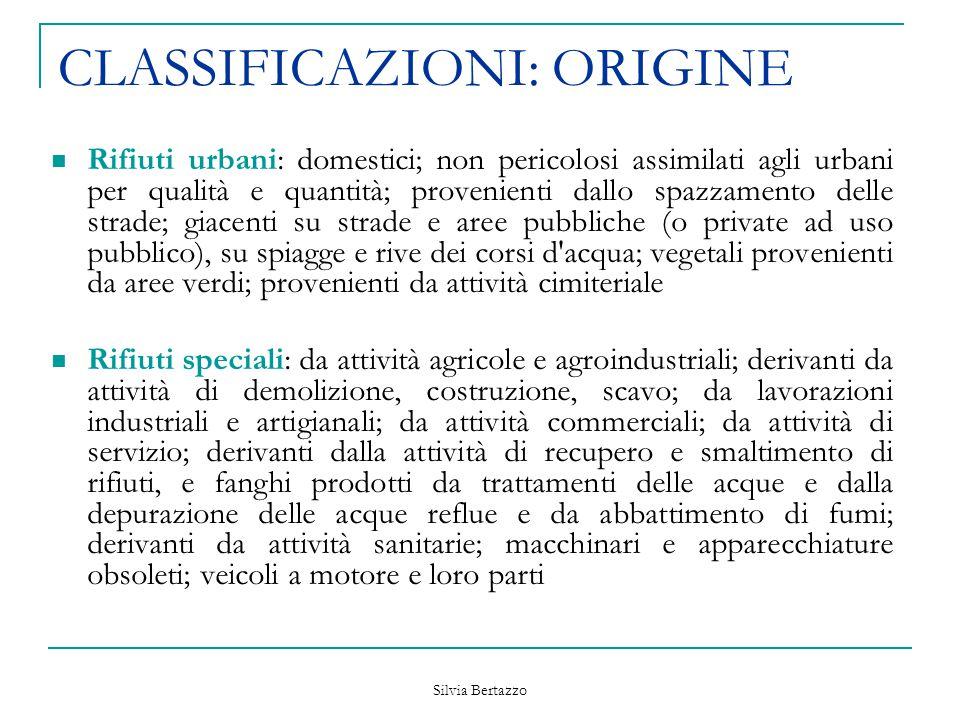 Silvia Bertazzo CLASSIFICAZIONI: ORIGINE Rifiuti urbani: domestici; non pericolosi assimilati agli urbani per qualità e quantità; provenienti dallo sp