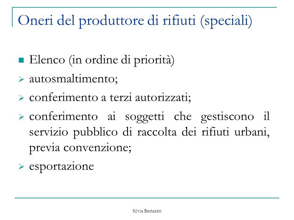 Silvia Bertazzo Oneri del produttore di rifiuti (speciali) Elenco (in ordine di priorità)  autosmaltimento;  conferimento a terzi autorizzati;  con