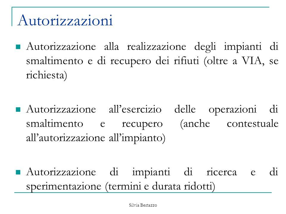 Silvia Bertazzo Autorizzazioni Autorizzazione alla realizzazione degli impianti di smaltimento e di recupero dei rifiuti (oltre a VIA, se richiesta) A