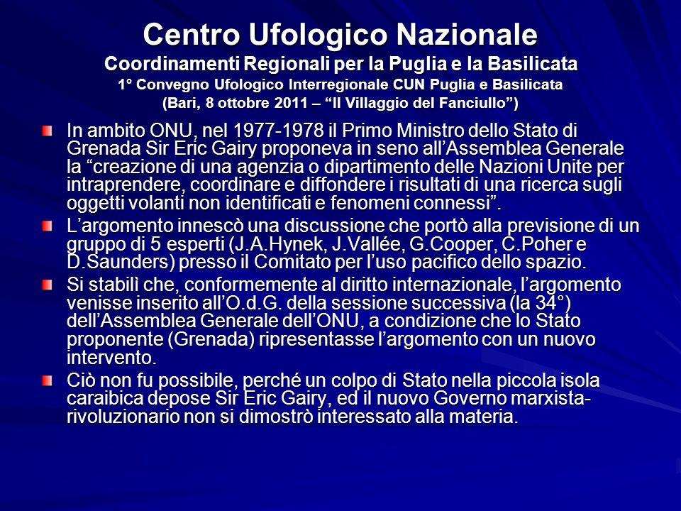 Centro Ufologico Nazionale Coordinamenti Regionali per la Puglia e la Basilicata 1° Convegno Ufologico Interregionale CUN Puglia e Basilicata (Bari, 8