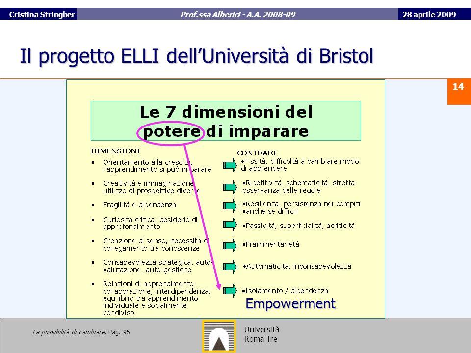 28 aprile 2009 14 Università Roma Tre Cristina Stringher Prof.ssa Alberici - A.A.