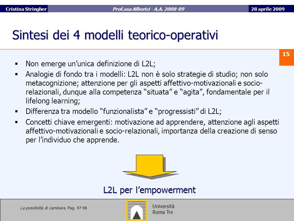 28 aprile 2009 15 Università Roma Tre Cristina Stringher Prof.ssa Alberici - A.A.