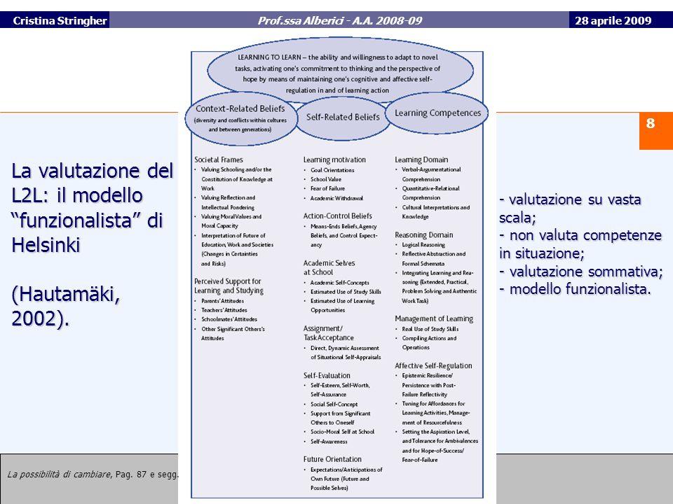 28 aprile 2009 8 Università Roma Tre Cristina Stringher Prof.ssa Alberici - A.A.