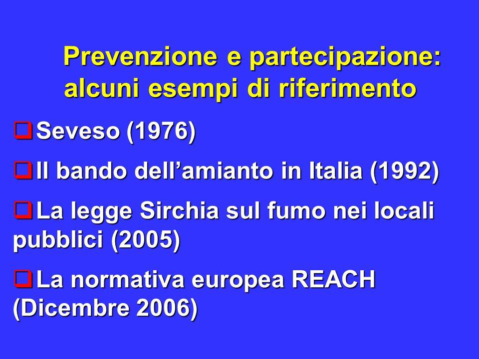 Prevenzione e partecipazione: alcuni esempi di riferimento  Seveso (1976)  ll bando dell'amianto in Italia (1992)  La legge Sirchia sul fumo nei locali pubblici (2005)  La normativa europea REACH (Dicembre 2006)