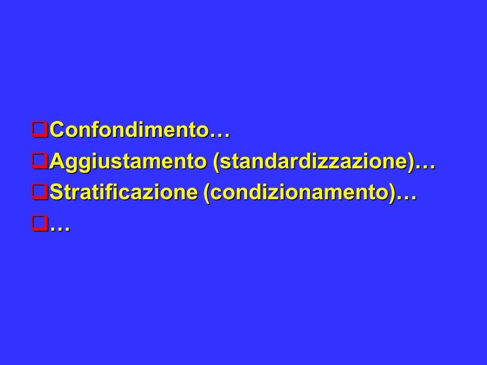  Confondimento…  Aggiustamento (standardizzazione)…  Stratificazione (condizionamento)…  …