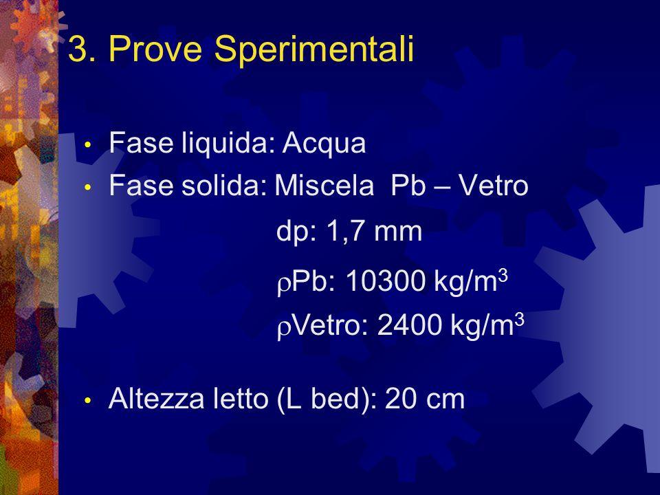 Fase liquida: Acqua Fase solida: Miscela Pb – Vetro Altezza letto (L bed): 20 cm dp: 1,7 mm  Pb: 10300 kg/m 3  Vetro: 2400 kg/m 3 3.