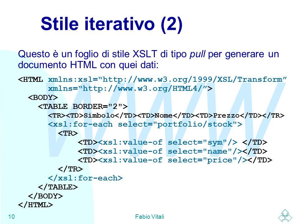 WWW Fabio Vitali10 Stile iterativo (2) Questo è un foglio di stile XSLT di tipo pull per generare un documento HTML con quei dati: Simbolo Nome Prezzo