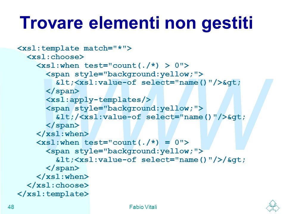 WWW Fabio Vitali48 Trovare elementi non gestiti 0 > < > </ > < />